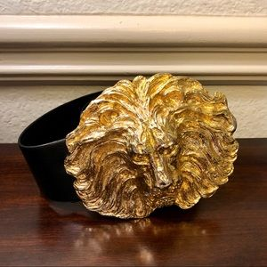 MiMi Di N 1987 HUGE Gold Lion Belt Buckle Leather
